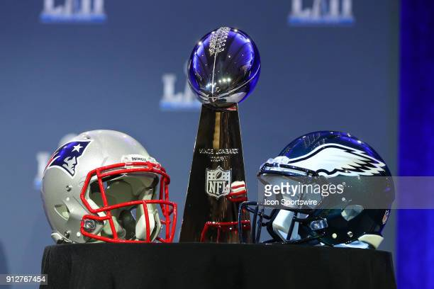 The Vince Lombardi Trophy and Helmets of the New England Patriots and Philadelphia Eagles on display at NFL Commissioner Rodger Goodell Press...