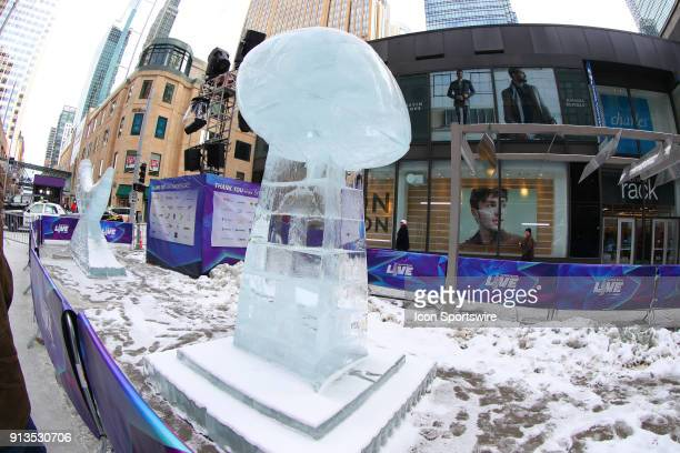 The Vince Lombardi Trophy Ice Sculpture on display during Super Bowl LII Week on Super Bowl LIVE presented by Verizon on Nicollet Mall in downtown...