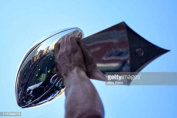 The Vince Lombardi trophy is displayed during the New England Patriots Super Bowl Victory Parade on February 05 2019 in Boston Massachusetts