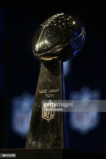 The Vince Lombardi Trophy is seen during the AFC Head Coach Press Conference held at the Greater Ft Lauderdale/Broward County Convention Center as...