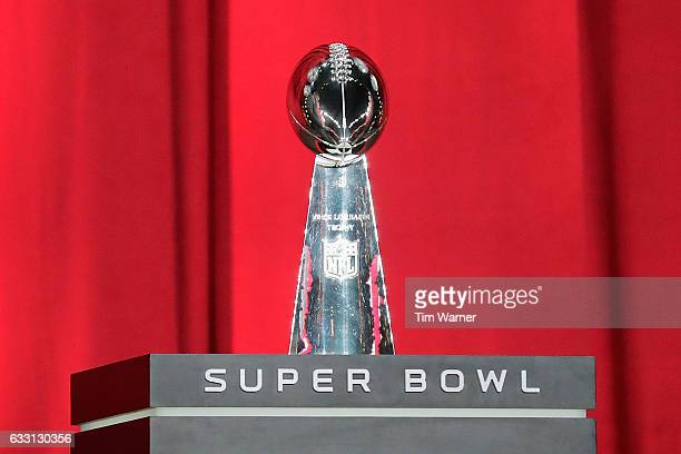 The Vince Lombardi Trophy is seen onstage during Super Bowl 51 Opening Night at Minute Maid Park on January 30 2017 in Houston Texas