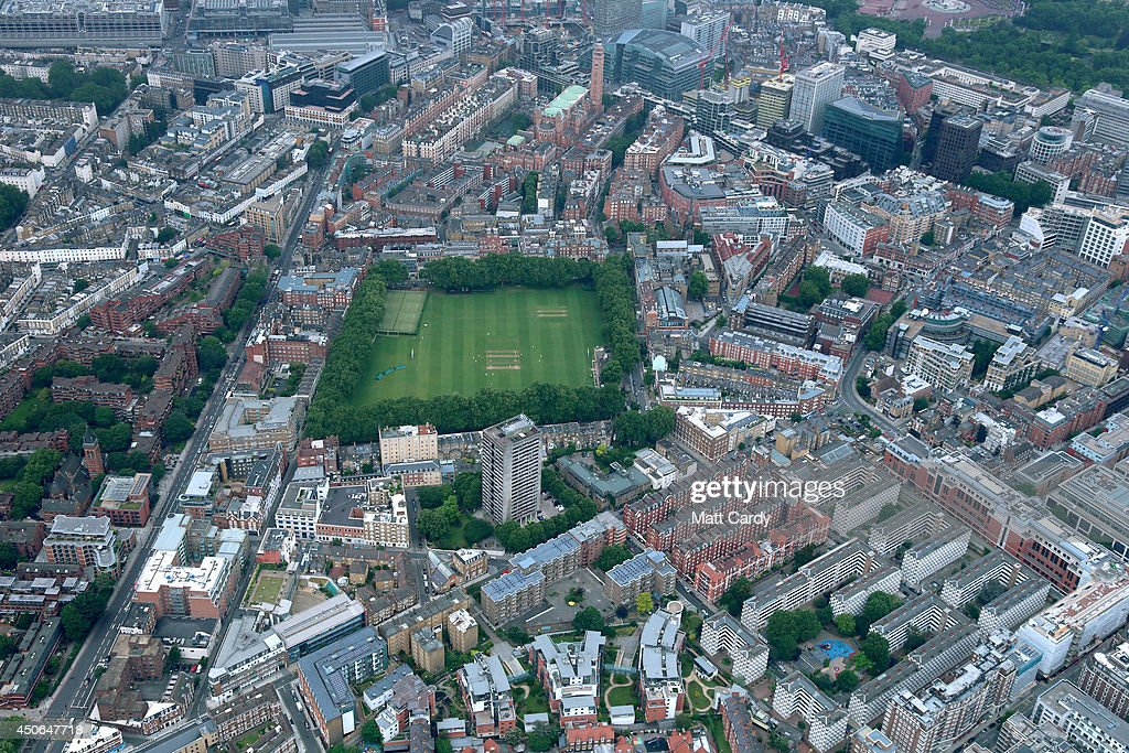 The Vincent Square cricket ground in Pimlico is seen from the air on June 14, 2014 in London, England.