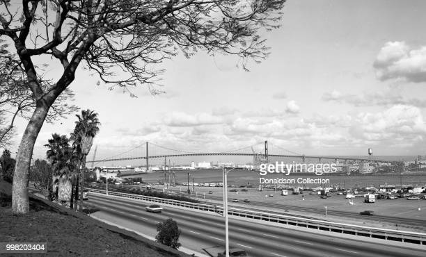 The Vincent Thomas Bridge spanning Los Angeles Harbor in San Pedro California on January 26 1972