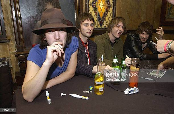 The Vines and Jet sign autographs at New Orleans House of Blues hosted by MTV2's 2$Bill Concert Series March 12 2004 in New Orleans Louisiana The...