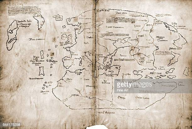 The Vinland Map possibly the first map showing the New World a 15th cenury 'mappa mundi' that some consider to be a fake Ink on vellum