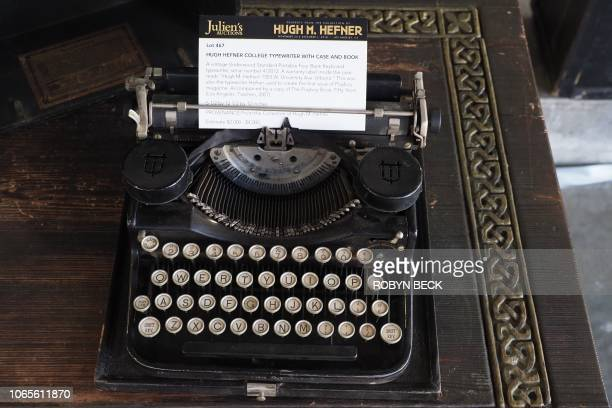 The vintage Underwood Standard Portable typewriter used in college by late Playboy publisher Hugh Hefner is displayed as part of Julien's Auctions...