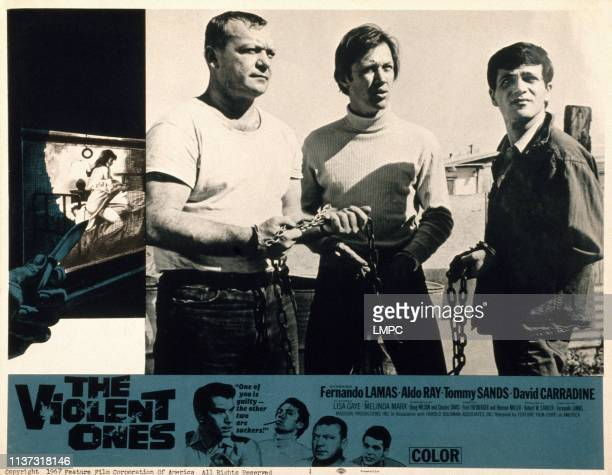 The Violent Ones US lobbycard top from left Aldo Ray David Carradine Tommy Sands bottom from left Fernando Lamas David Carradine Aldo Ray Tommy Sands...