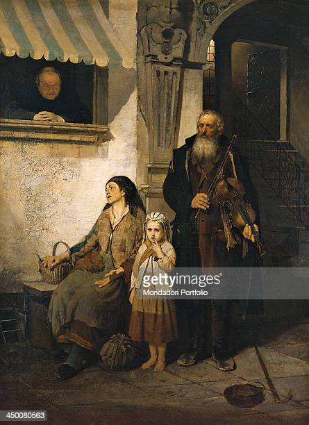 The violin player's family by Girolamo Induno 19th Century oil on canvas 127 x 94 cm