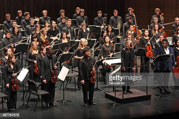 """The violinist Ken Hamao, left, and the countertenor John Holiday, right, performing Giya Kancheli's """"And farewell goes out sighingÉ"""" with the..."""