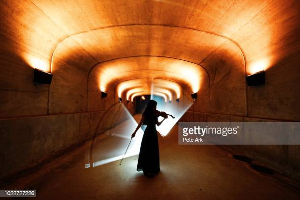 the violinist - music halls stock pictures, royalty-free photos & images
