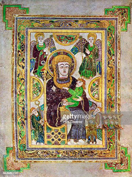 The Virgin And Child, c800 AD, . A 20th-century copy of the illustrated manuscript, produced by Celtic monks around AD 800. Illustration from The...