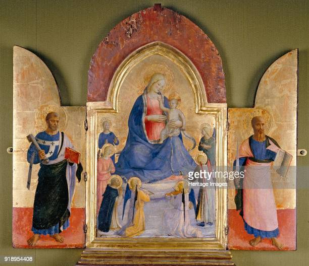 The Virgin and Child with Angels and a Dominican Saint; St Peter ; St Paul , 15th century. Dimensions: height x width x depth: 41 x 26.8 cm...