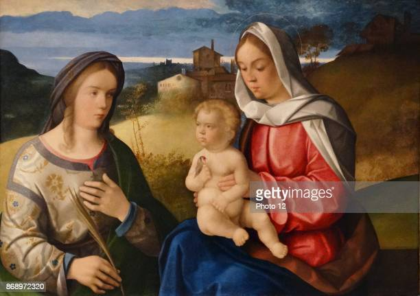 The Virgin and Child with Saint Agnes in a Landscape by Pietro degli Ingannati Active in Venice Italy 15291548 Oil on wood 1550
