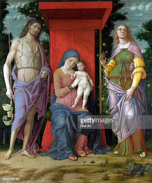 The Virgin and Child with Saints circa 14901505 tempera on canvas 1391 x 1168 cm National Gallery London England
