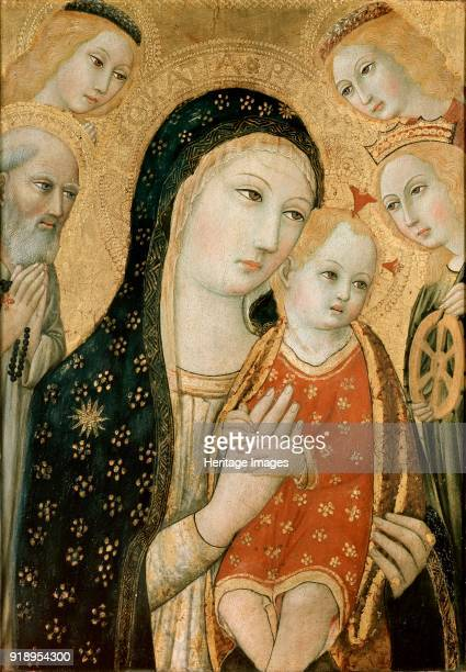 The Virgin and Child with St Jerome St Catherine of Alexandria and two Angels circa 1470 Dimensions height x width x depth 497 x 354 cm