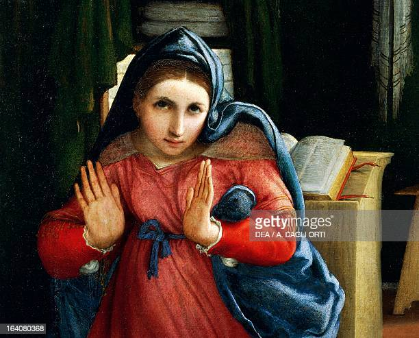 The Virgin announced, detail from the Annunciation, ca 1434, by Lorenzo Lotto , oil on canvas, 166x114 cm. Recanati, Pinacoteca Comunale