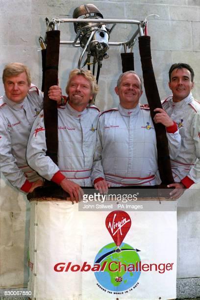 The Virgin Global Challenger team Per Lindstrand Virgin boss Richard Branson Steve Fossett and Dave Jackson during today's news conference at the...