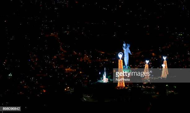 The Virgin of El Panecillo is the central image of the manger that lights Quito during the Christmas season in Quito Ecuador Saturday December 23...