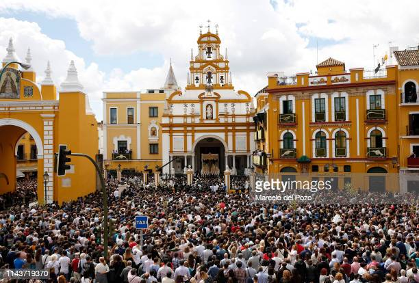 The Virgin of La Macarena is seen during a Holy Week procession on April 19 2019 in Seville Spain 'Holy Week' or 'Semana Santa' attracts more than a...