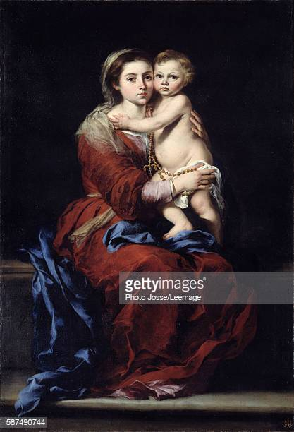 The Virgin of the Rosary. Madonna with the child. Painting by Bartolome Esteban Murillo , 17th century. Oil on canvas. 1,64 x 1,10 m. Prado Museum,...