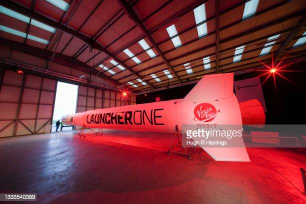 The Virgin Orbit Launcher One rocket in its hanger at Newquay Airport on August 10, 2021 in Newquay, England. Spaceport Cornwall is aiming to launch...