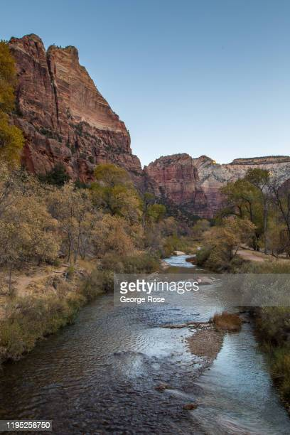 The Virgin River flows through the valley floor as viewed on November 9, 2019 in Zion National Park, Utah. Zion National Park, located 3 hours north...