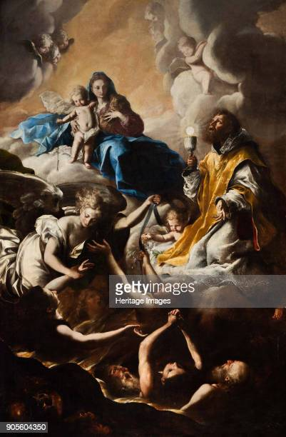 The Virgin, St. Nicholas of Tolentino and the Holy Souls in Purgatory. Found in the Collection of Chiesa di San Giovanni Decollato, Montoggio.
