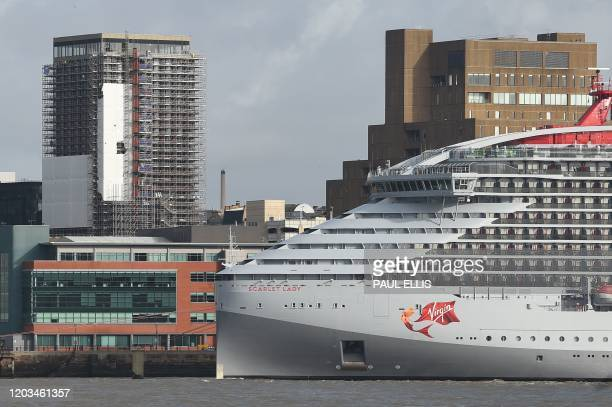 The Virgin Voyages cruise ship Scarlet Lady is seen on the River Mersey in Liverpool on February 26, 2020. - Sailing from its intended home port of...