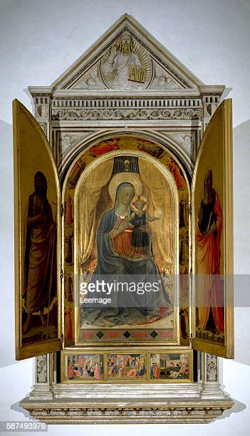 The Virgin with Child - Tabernacle of the Linaioli - Painting by Guido di Pietro called Fra Angelico or il Beato , 1432-1433, tempera on panel, Dim....