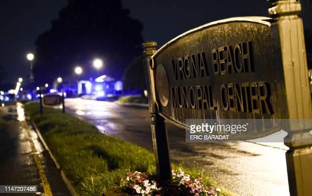The Virginia Beach municipal center sign is seen in Virginia Beach Virginia in the late hours of May 31 2019 A municipal employee sprayed gunfire...