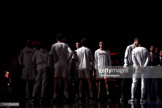 The Virginia Cavaliers are introduced prior to the 2019 NCAA men's Final Four National Championship game against the Texas Tech Red Raiders at US...