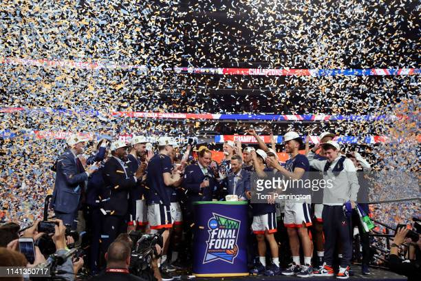 The Virginia Cavaliers celebrate after their 8577 win over the Texas Tech Red Raiders during the 2019 NCAA men's Final Four National Championship...