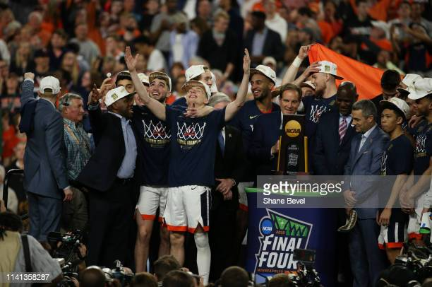 The Virginia Cavaliers celebrate their National Championship after defeating the Texas Tech Red Raiders in the 2019 NCAA Photos via Getty Images...