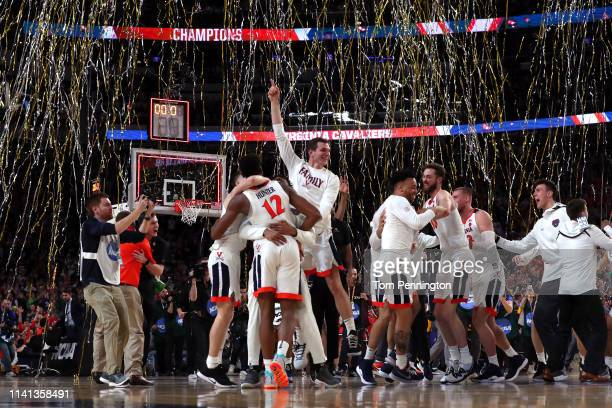 The Virginia Cavaliers celebrate their teams 8577 win over the Texas Tech Red Raiders to win the the 2019 NCAA men's Final Four National Championship...