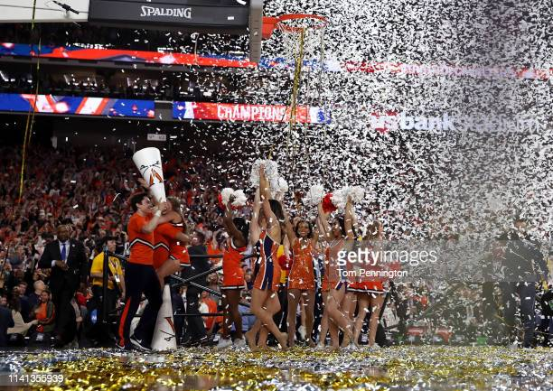 The Virginia Cavaliers cheerleaders celebrate their teams 8577 win over the Texas Tech Red Raiders in the 2019 NCAA men's Final Four National...