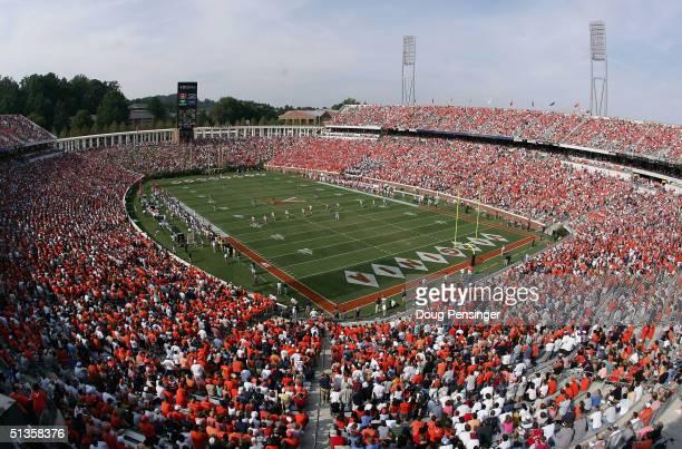 The Virginia Cavaliers play host to the Syracuse Orangemen during NCAA football at Scott Stadium on September 25, 2004 in Charlottesville, Virginia.