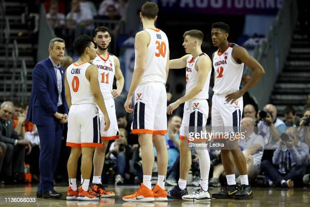The Virginia Cavaliers react against the Florida State Seminoles during their game in the semifinals of the 2019 Men's ACC Basketball Tournament at...