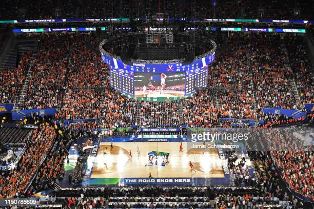 The Virginia Cavaliers start overtime against the Texas Tech Red Raiders in the 2019 NCAA Photos via Getty Images men's Final Four National...