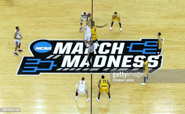The Virginia Cavaliers tip off against the UMBC Retrievers in the first round of the 2018 NCAA Men's Basketball Tournament at Spectrum Center on...