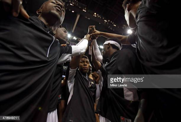The Virginia Commonwealth Rams huddle before the start of their game against the George Washington Colonials during the Semifinals of the 2014...