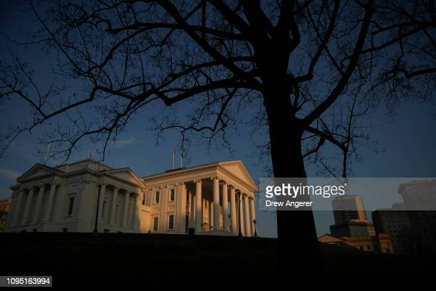 The Virginia State Capitol stands at sunset February 7 2019 in downtown Richmond Virginia Virginia state politics are in a state of upheaval with...