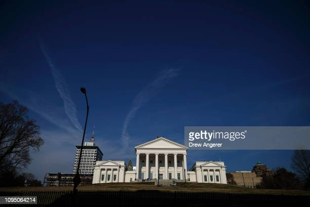 The Virginia State Capitol stands in downtown Richmond Virginia February 7 2019 Virginia state politics are in a state of upheaval with Governor...