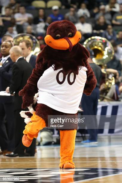 The Virginia Tech Hokies mascot performs against the Alabama Crimson Tide during the first half of the game in the first round of the 2018 NCAA Men's...