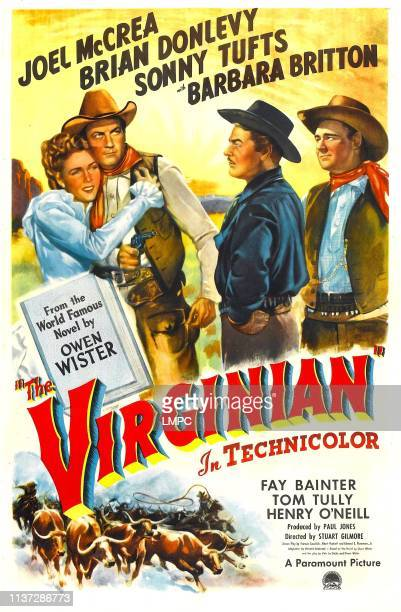 The Virginian poster US poster from left Barbara Britton Joel McCrea Brian Donlevy Sonny Tufts 1946