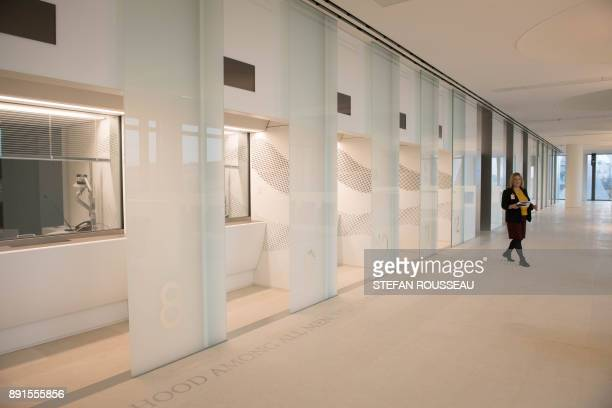 The visa hall is seen during a press preview of the new United States Embassy building in central London on December 13 2017 The new US Embassy...