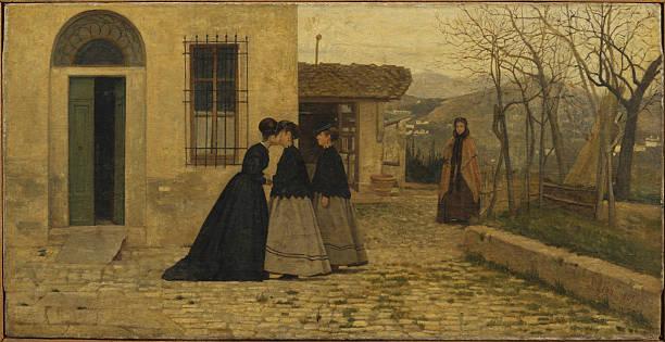 The Visit (La visita), by Silvestro Lega, 1868, 19th Century, oil on ...