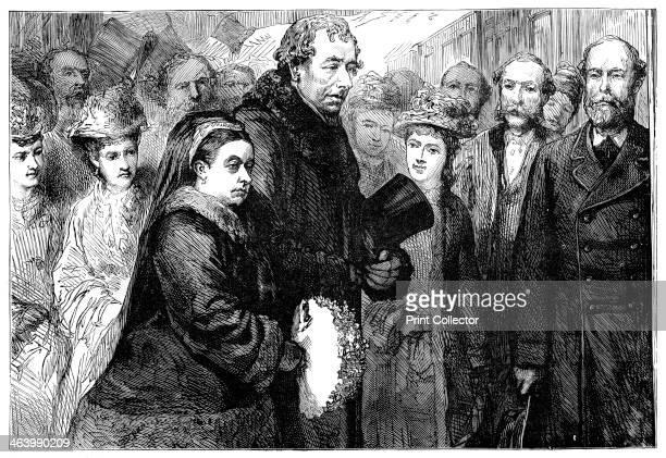 The visit of Queen Victoria to Hughenden Manor, High Wycombe, Buckinghamshire, 1877. Queen Victoria was queen of Great Britain and Ireland between...