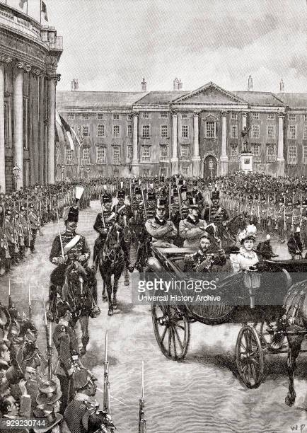 The visit of the Duke and Duchess of York to Dublin Ireland in 1897 The Duke of York later king George V 1865 – 1936 Princess Mary of Teck Duchess of...