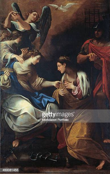The Visit of the Empress Faustina to Saint Catherine in Prison by Ludovico Carracci 17th Century oil on canvas 210 x 140 cm
