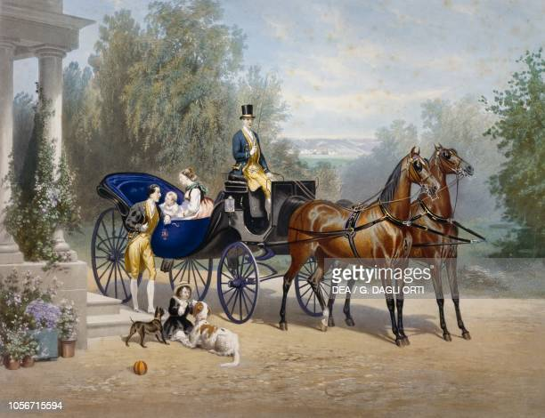 The visit open carriage with two horses engraving by E Guerard France 19th century